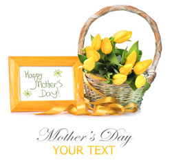 Mother's Day greeting card - a basket of tulip spring flowers
