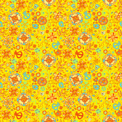 Seamless pattern of cute abstract flowers