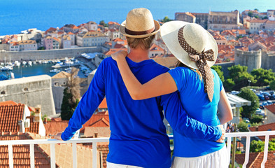 happy couple on summer vacation in Croatia