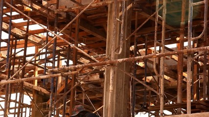 construction worker are builds a building. Video shift motion