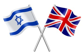 Flags: Israel and United Kingdom