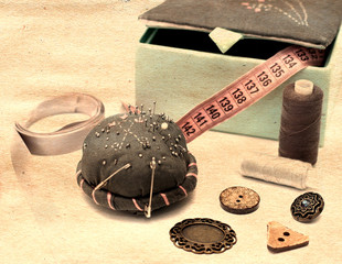 Sewing accessories on table