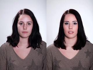 Frau vorher und nachher Visagistik Make-Up