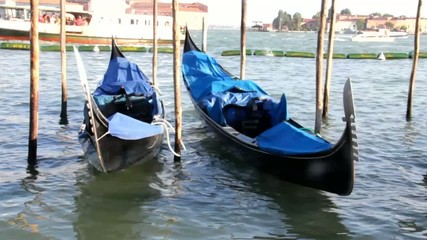 Gondolas at rest by Piazza San Marco and cruise ship