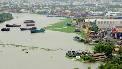 Time Lapse of Busy Shipping Container Port in Ho Chi Minh City (Saigon)