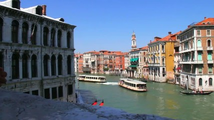 View of the city and Grand Canal from Rialto Bridge. Venice.