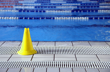 wet floor cone signal in the big pool