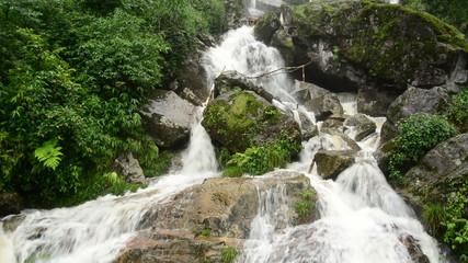 Raging Waterfall during Rainstorm - Sapa Vietnam