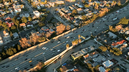 Aerial View of Los Angeles Freeway / Highway / Suburbs