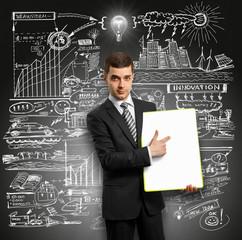 Idea Concept businessman with empty write board
