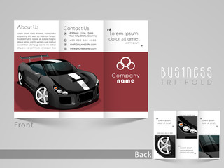 Tri-Fold brochure, flyer or template for automobile sector.