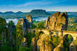 Bridge named Bastei in Saxon Switzerland,  river Elbe, - 78889300