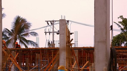 Construction worker working on a construction site. Video