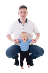 father playing with his little son isolated on white