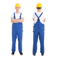 front and back view of young handsome man in blue builder unifor