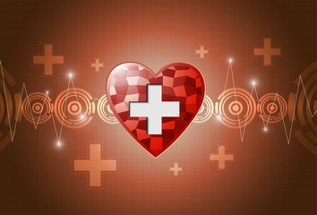 heart polygon background