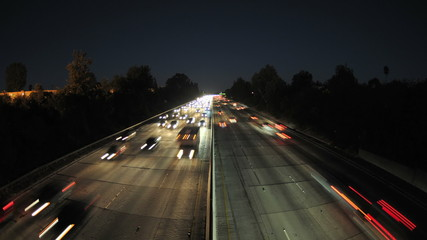 Time Lapse of Busy Freeway at Night