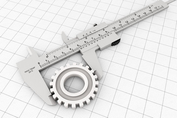Metal Vernier Caliper over Graph Paper