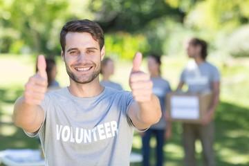 Happy volunteer in the park