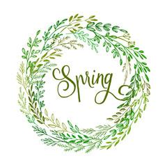 Hand drawn spring wreath. Vector illustration