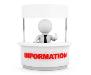 Person with Blank Information Stand