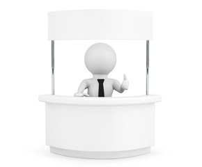 Person with Blank Promotion Stand