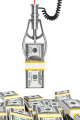 Robotic claw grabbing dollars