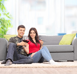 Couple drinking wine seated by a sofa at home