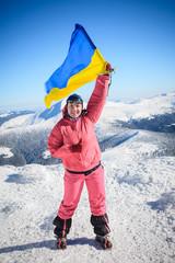 climber, top, flag, Ukraine
