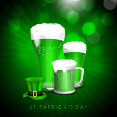 Beer mug with hat for Happy St. Patrick's Day celebration.