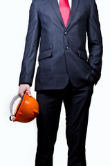 Men in suit with safety helmet