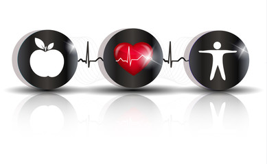Exercise, healthy diet and Cardiovascular Health symbols connect