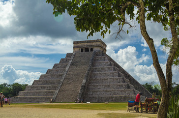 Famous Chichen Itza pyramid in Mexico