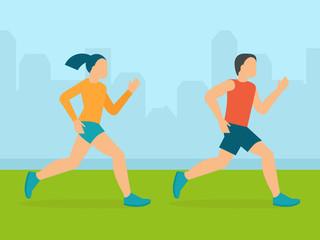 Vector man and woman running marathon