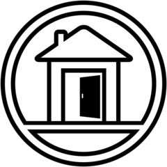 icon with house and open door