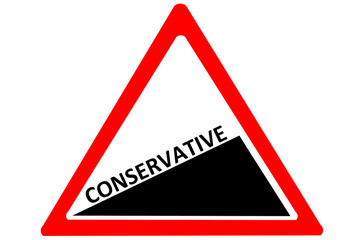 Conservative increasing warning road sign isolated on white