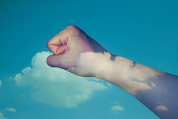 hand double exposure sky background