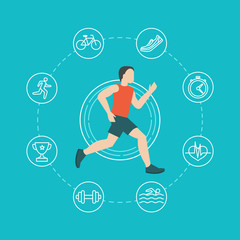 Vector running and jogging infographics concept