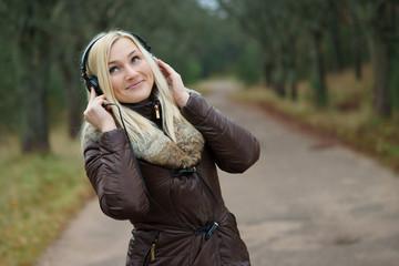 Young girl enjoying music