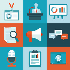Vector conference icons in flat style