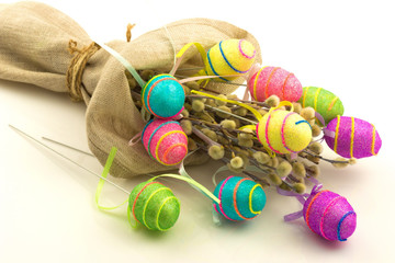 Decorative easter eggs in flax sack