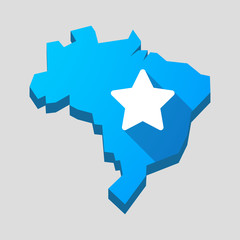 Blue Brazil map with a star