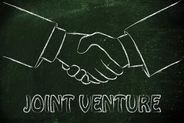 Joint venture, hands shaking design