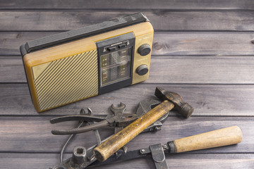 old radio receiver old tools