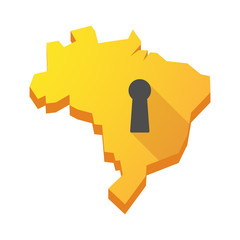 Yellow Brazil map with a key hole