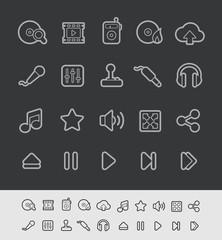 Media Player Icons -- Black Line Series