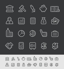 Business and Finance Icons -- Black Line Series