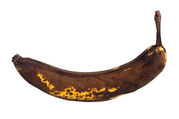 Closeup of an overripe banana, isolated on white background