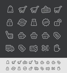 E-Shopping Icons -- Black Line Series