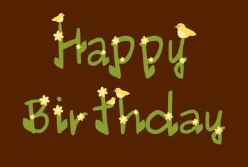 happy birthday daisy flowers brown card